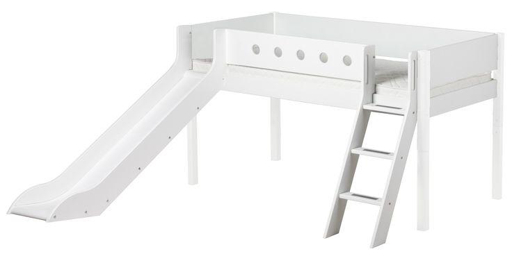 Flexa White Mid-high Bed Loftsäng Rutschkana/Lutande trapp - Offwhite från FLEXA hos ConfidentLiving.se