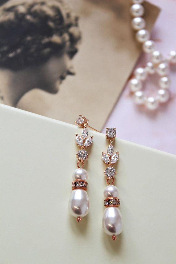 Rose Gold Bridal Earrings Art Deco Pearl Drop Wedding Jewelry Uk Pinterest