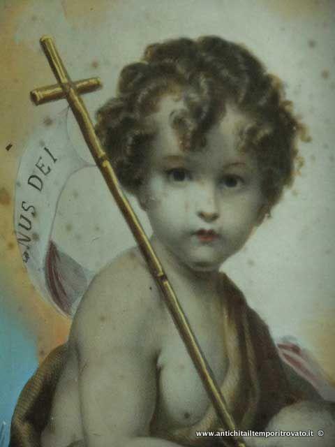 Oggettistica d`epoca - Stampe e dipinti - Litografia acquerellata di San Giovannino San Giovannino: litografia colorata a tempera - Immagine n°6