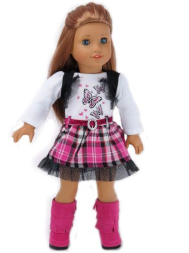 Butterfly-Pink-Black-White-Dress-made-for-18-American-Girl-Doll-Clothes