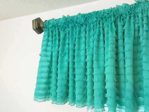 Mint Ruffled Curtain Valance for Kitchen  by avisiontoremember