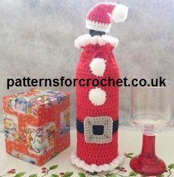 Free santa bottle cosy from http://www.patternsforcrochet.co.uk/santa-cozy-usa.html #crochet #patternsforcrochet #freecrochetpatterns