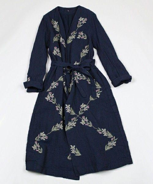 45R Lady's(レディース)のインディゴギマツイード刺繍コート(ステンカラーコート)|インディゴブルー
