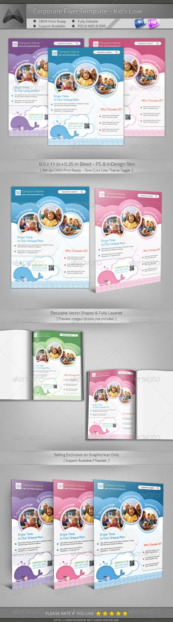 Corporate flyer kid 39 s love vector shapes and adobe for Adobe photoshop brochure templates
