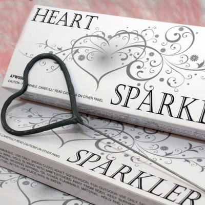 "Heart Shaped Wedding Sparklers, anyone? Cute, but they don't last very long. Need to pair with the 36"" ones that last  3min 15sec."