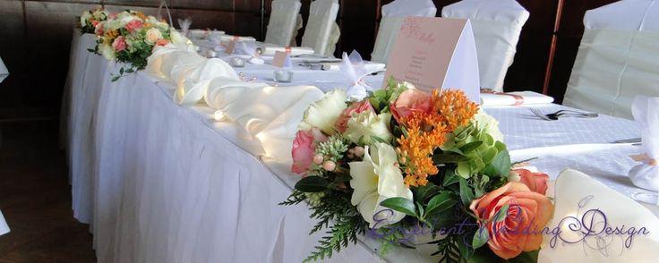 Esküvői dekoráció, barack esküvői dekoráció, asztaldísz