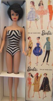 1961 Bubblecut Barbie in original box  Hair Colors: Shades of Blonde, Brunette & Titian (red)  Blue eyes, eyebrows match hair color, red lips