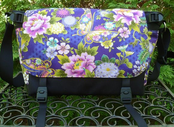 Japanese Butterflies on Violet Zelda Deluxe Messenger Bag by Zoe's Bag Boutique
