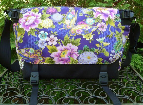 Japanese Butterflies on Violet Zelda Deluxe Messenger Bag by Zoe's Bag Boutique