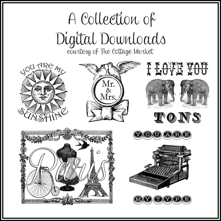 50 Digital Downloads A Collection of digital collages and embellished graphics