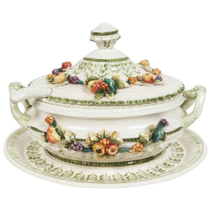 Italian Tureen with Ladle and Tray | From a unique collection of antique and modern soup tureens at https://www.1stdibs.com/furniture/dining-entertaining/tureens/