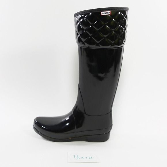 """Selling this """"HUNTER Quilted Black Rain Boots"""" in my Poshmark closet! My username is: yooni. #shopmycloset #poshmark #fashion #shopping #style #forsale #Hunter Boots #Boots #HUNTER #quilted #quiltedblack"""