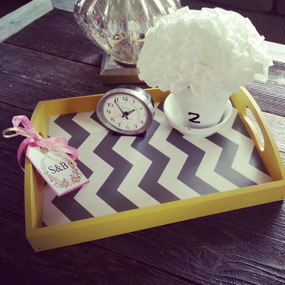 Chevron Home decor wood serving tray in yellow with grey and white chevron, colorful home accent, Chevron print decor