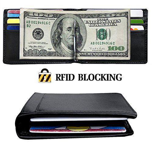 cool RFID Wallet Mens Slim Bifold Leather Front Pocket Wallet Money Clip Card Holder