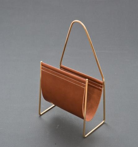 Carl Auböck; Brass and Leather Magazine Rack for Werkstaette Carl Auböck, 1950s
