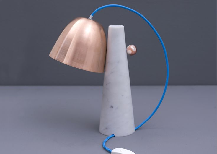 Clochette, table lamp: white and pink Carrara marble, copper lampshade. ZPSTUDIO TOOLS collection, by Zpstudio.