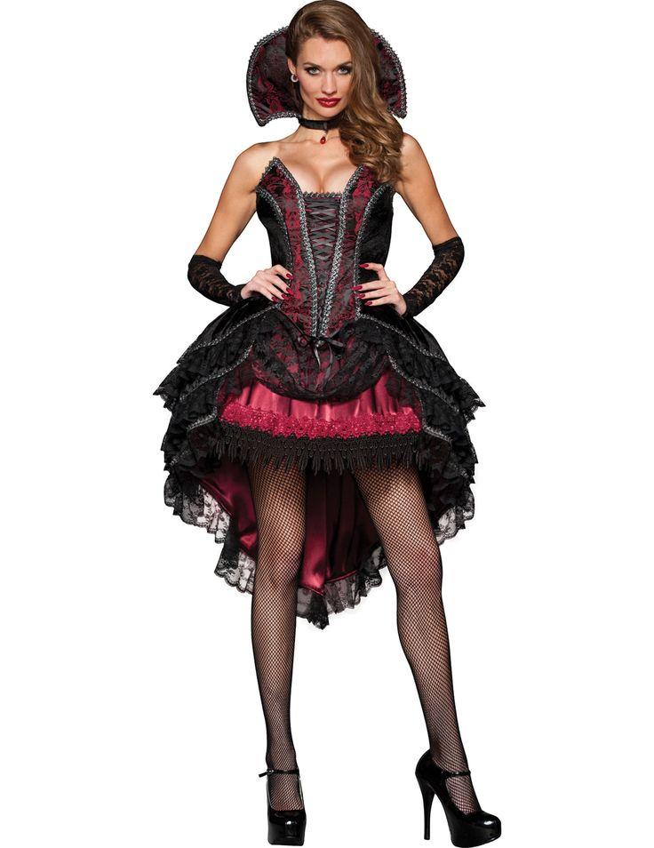 Déguisement Comtesse de Minuit pour femme - Premium : Ce déguisement de comtesse pour femme se compose d'une robe et d'un col (bijoux, bas, manchettes et chaussures non inclus).La robe effet velours est noire, rouge bordeaux et courte....