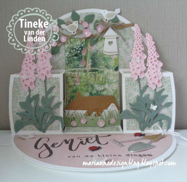 Handmade card by DT member Tineke with Creatables Tiny's Foxglove (LR0452), Tiny's Cottages (LR0453), Craftables Punch die Butterflies (CR1354), Grass (CR1355), Boxcard (CR1374), Punch die Spiders & Bugs (CR1383) and Collectables Garden Tools (COL1346) from Marianne Design