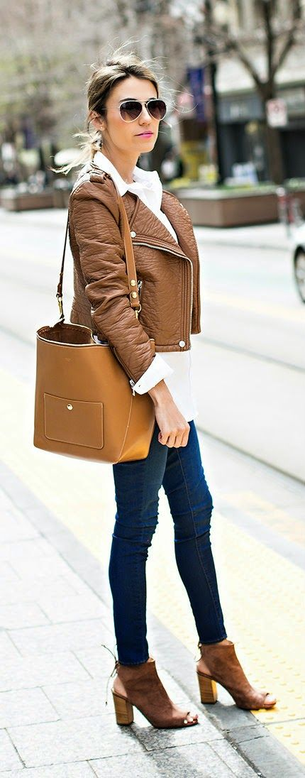 Hello Fashion - Brown Moto Jacket, White Button up, Denim Skinny Jeans, Suede Booties