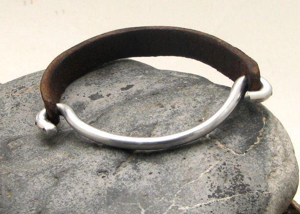FREE SHIPPING Men's leather bracelet Brown leather men's bangle bracelet with  metal work clasp. $27.00, via Etsy.