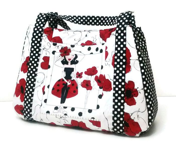Custom Made Purse with Poppies and Polka Dots