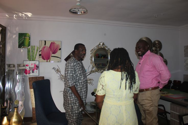 A.I.G Osanaiye(Rtd) shares a joke in the studio before the interview