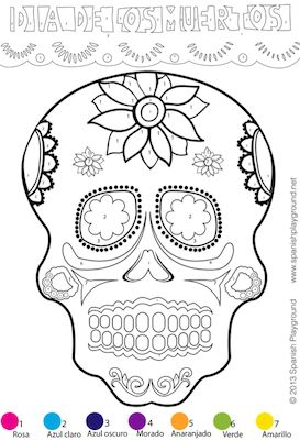 Spanish Color-By-Number: Easy Picture for Día de los Muertos A simpler version of my color-by-number calavera. There are larger spaces for younger kids. http://www.spanishplayground.net/spanish-color-by-number-easy-picture-dia-de-los-muertos/
