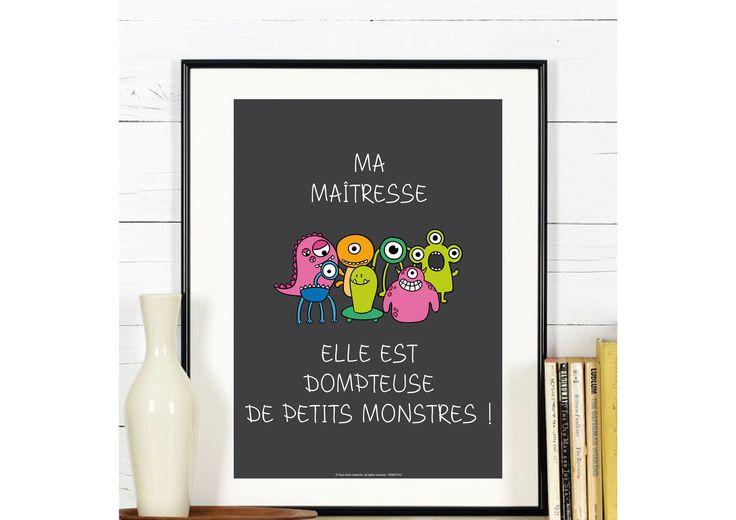 Affiche Dompteuse de Petits Monstres - Maîtresse Fin d'année scolaire école : Affiches, illustrations, posters par affiche-rgb4you