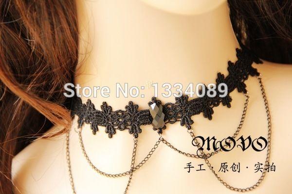 Британский стиль преппи ожерелье ложные воротник аксессуары, Готический вампир кружево сексуальный ювелирные изделия
