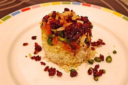 Persischer Juwelenreis, ein schmackhaftes Rezept aus der Kategorie Reis/Getreide. Bewertungen: 28. Durchschnitt: Ø 4,5.
