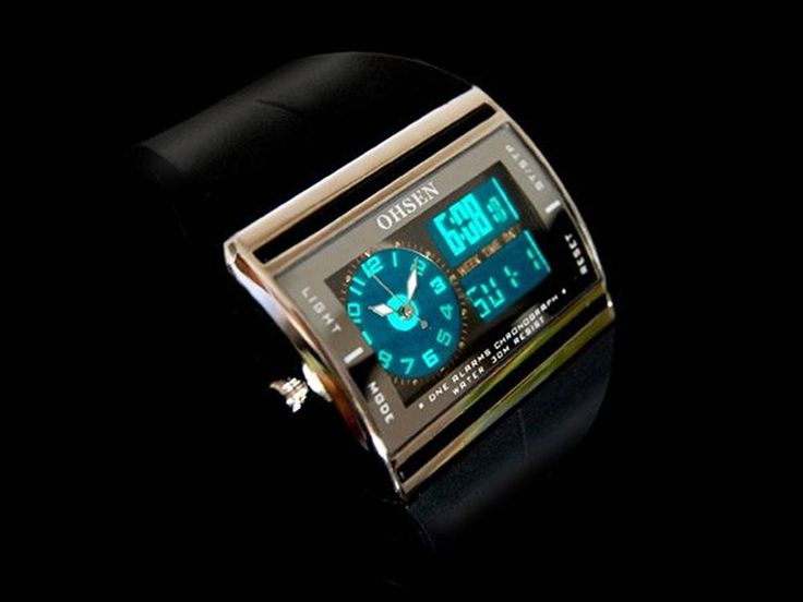 選べる 4色 OHSEN 多機能 腕時計 デジアナ表示 防水 ストップウォッチ スポーツ アウトドア カジュアル メンズ レディース ウォッチ 【 BOX 時計 拭き付 】 (ブラック)
