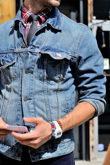 Interesting use of a jean jacket.. i might have to try it.. with chinos?