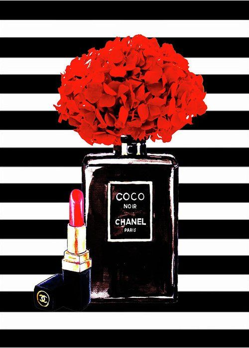 01f5f7a0f863c6 Chanel Print Greeting Card featuring the painting Chanel Poster Chanel  Print Chanel Perfume Print Chanel With Red Hydragenia 3 by Del Art