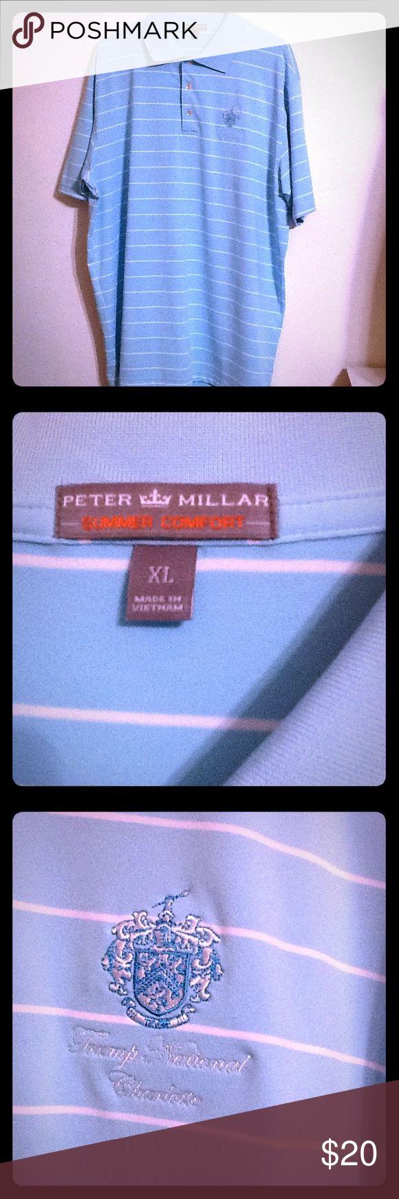 Peter Millar men's Golf Polo Shirt XL Peter Millar Men's Golf Polo . Sz XL. Light Blue with white stripes. Trump National Charlotte Crest. Summer Comfort. Very Nice!! Peter Millar Shirts Polos