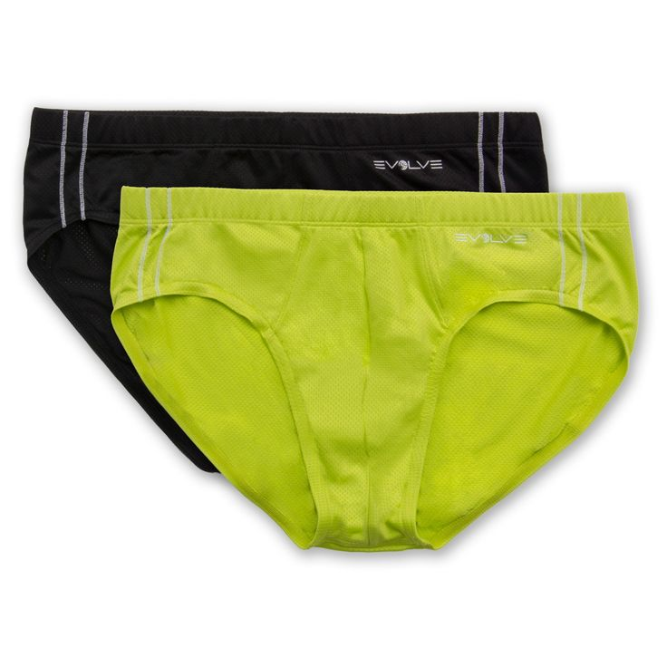 Evolve - Men's 2Pack Classic Briefs - Black/ Lime Punch XL, Black Yellow