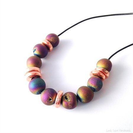 Rainbow Agate Druzy & Rose Gold Ceramic Necklace