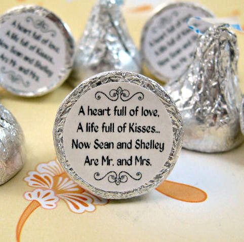 cute idea...put stickers on the bottom of hershey kisses:)