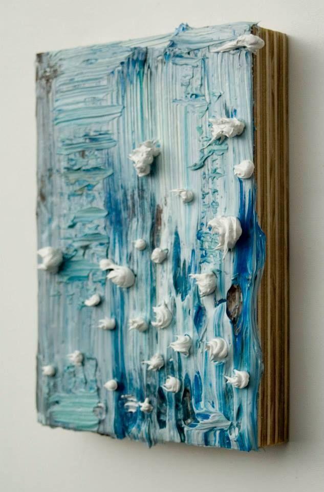 """Tuesday's Grey,  acrylic on wood panel,  10 x 7 x 2"""", 2013"""