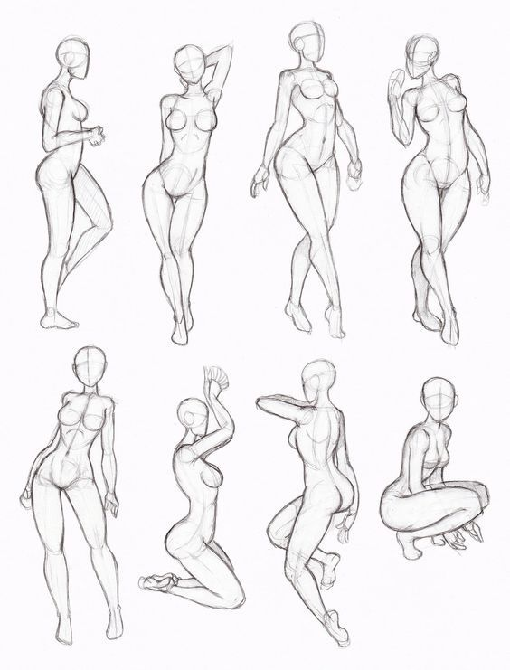 tipos de poses: mujer, manga