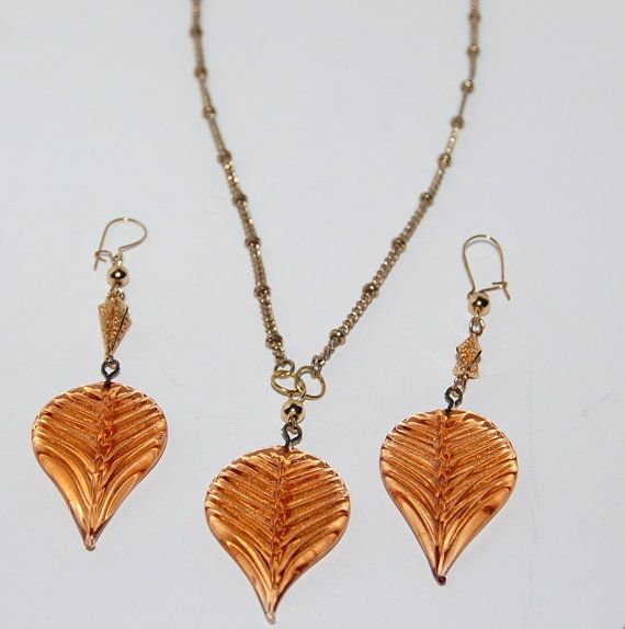 #jewelry @ Etsy #sale Golden leaves set upcycled necklace drop by silverwireandgems