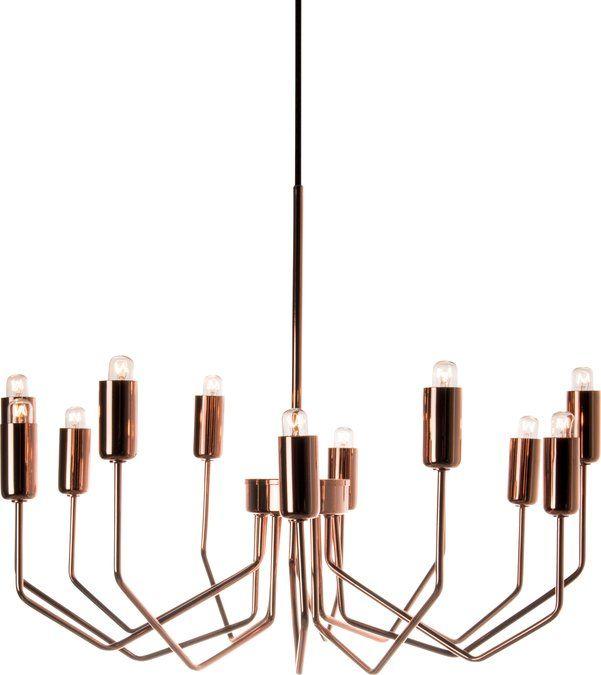 Hanglamp Manhattan is een authentieke kroonluchter in een modern jasje, uitgevoerd in warm koper. De lamp past zowel in de moderne- als de klassieke woninig. De futurische armen maken van de lamp een gedenkwaardig voorwerp waar je niet snel op uitgekeken raakt. De elf armen zijn stuk voor stuk voorzien van een kooldraad lichtbron.