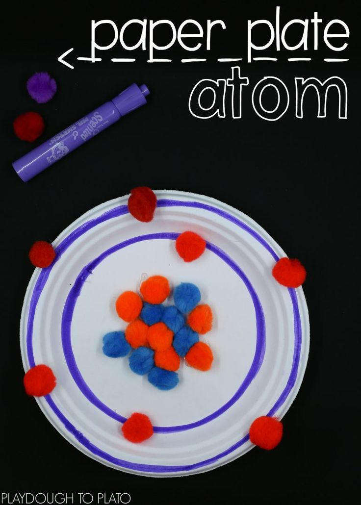 Paper plate atoms! Awesome STEM activity or science project for kids.