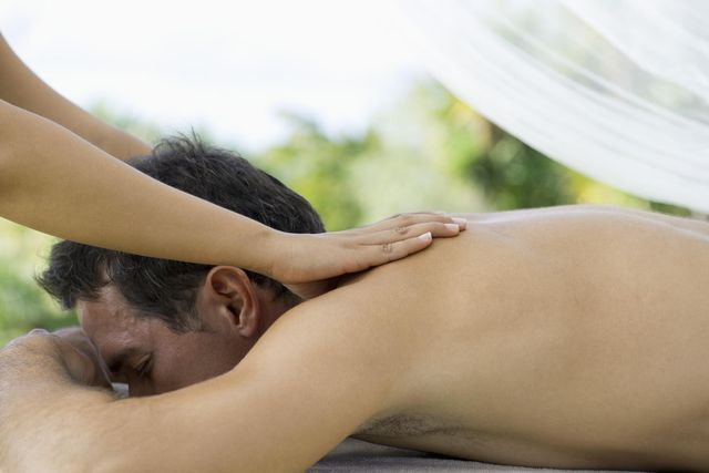 A happy ending massage takes place when a massage ends with an orgasm, usually through a hand-job. It's illegal in the U.S, but not that hard to find.
