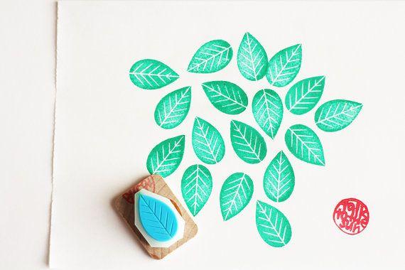 wedding leaf stamp. hand carved leaf rubber stamp. by talktothesun
