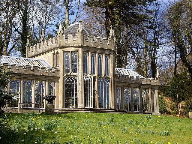 Gothic conservatory in the gardens of Scotland's Culzean Castle. Designed in 1818 as an orangery and later named the Camellia House. Photo by Kenneth Mallard.