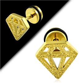 Výrazný falešný piercing - ve zlaté třpytivé barvě s motivem diamantu PFA00230 http://www.piercingate.cz/falesny-piercing-diamant-pfa00230