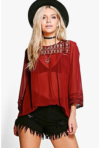 Jennifer Chiffon Crochet Smock Top
