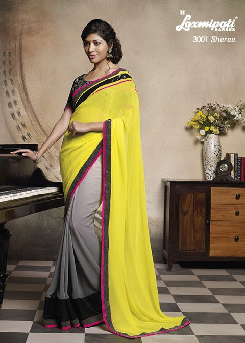 This Geogette Yellow – Grey colored half – half saree with Heavy sequence work combination and Resham work on its blouse, A Job Well Done !