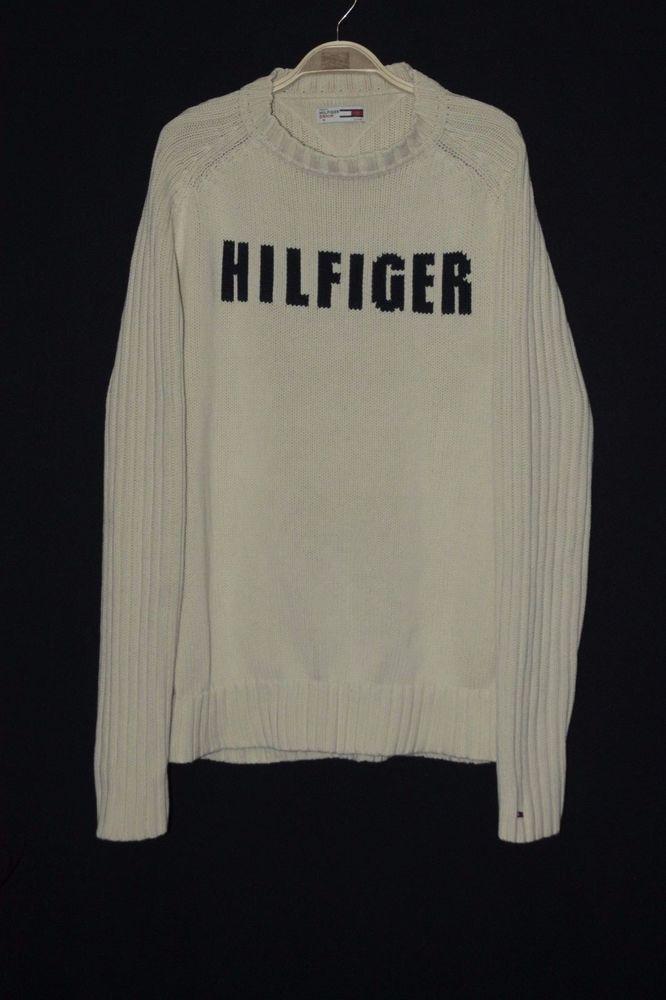 Tommy Hilfiger big  logo comfort men's sweater SIZE M #TOMMYHILFIGER #Crewneck