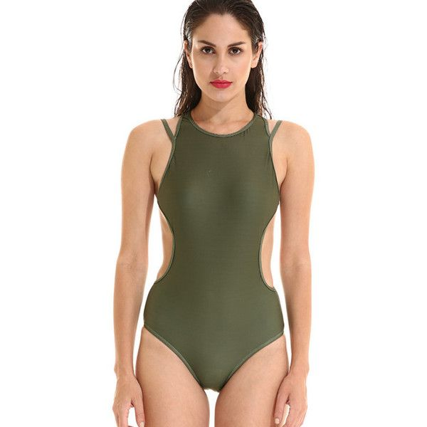 Army Green High Neck Strappy Sexy One Piece Bathing Suit ($23) ❤ liked on Polyvore featuring swimwear, one-piece swimsuits, high neck one piece swimsuit, sexy swimsuits, one-piece swimwear, sexy one piece swimwear and sexy one piece bathing suits